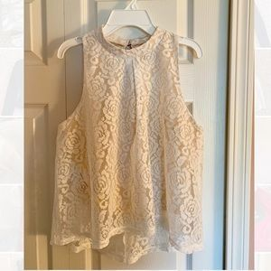 Tops - Cream Lace Tank